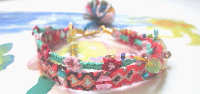 Unique multi bracelets bespangled with colored beads , accessorized with golden closure and colored mohair fuzz